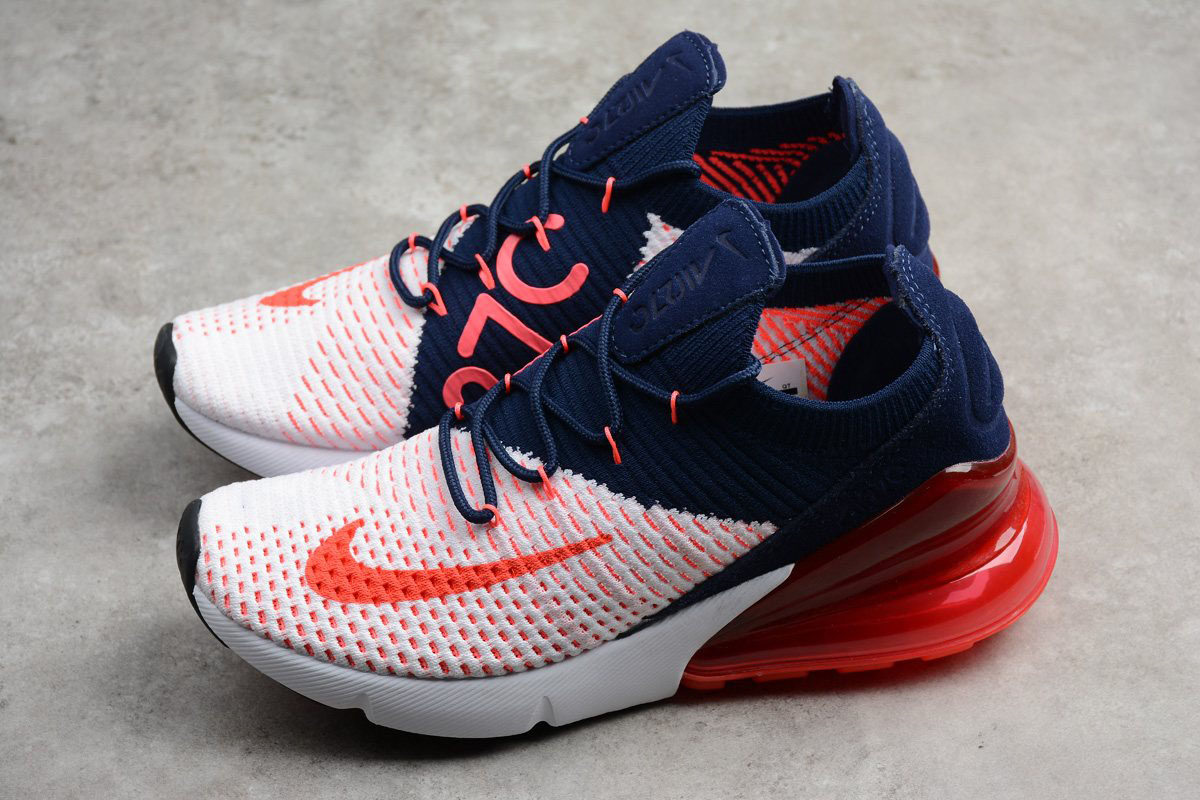 New Nike WMNS Air Max 270 Flyknit Dark BlueRed White A01023 106