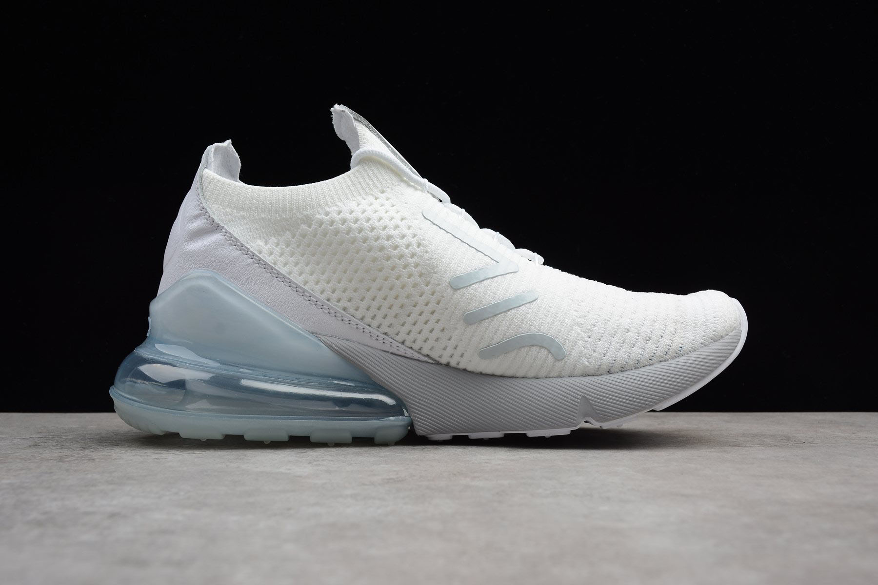 Male Nike Air Max 270 Flyknit Pure PlatinumBlack Dark Grey Chaussure AO1023 003