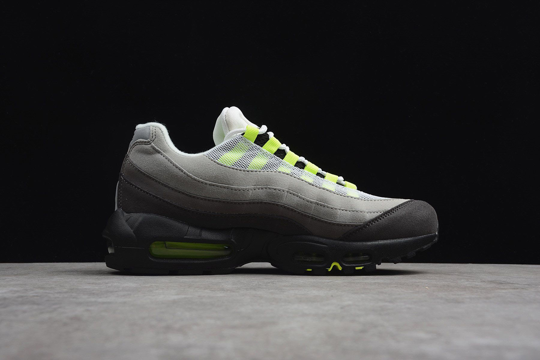 lowest price 6050d 2756e Nike Air Max 95 OG Neon Black Volt-Medium Ash-Dark Pewter 554970 ...